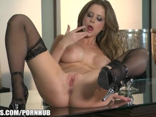 Big boobed brunette pornstar Emily Addison cums on her toy