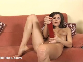 Teen fucking her tight pussy with a huge red brutal dildo in HD