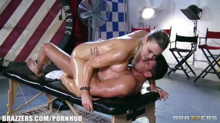 Abbey Brooks gets oiled up & rubbed down by her masseur