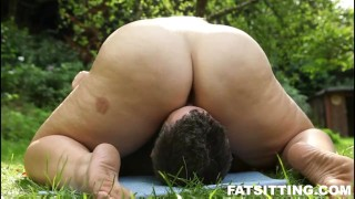 Fat Mira with thick pussy loves facesitting  smothering outdoor bbw facesitting femdom fat