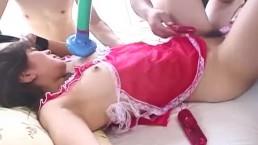 Group action bondage style with bound asian babe toy fucked