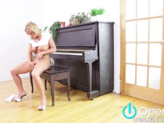 Slimy Pussy Fucking, Blonde with Big Tits Masturbates On Piano Big Tits Blonde Masturbation