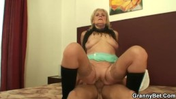 Granny prostitute jumps on his big meat