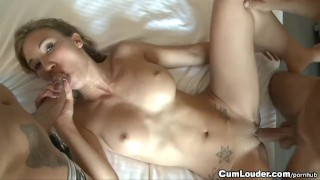 Horny slut fucked and jizzed on her Face