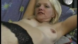 Petite blonde gets pleased by two guys