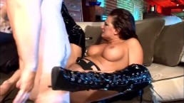 Milf with big tits fucking wearing fishnet gloves and thigh high boots