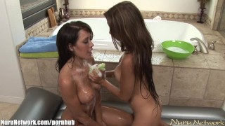 Lesbian Babes Soapy Shower Time