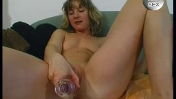 Cute Blonde With Glass Dildo