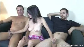 Topless big lady mature jerking cocks two mother hand