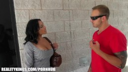 SEXY Latina gym trainer helps her new client with his cardio