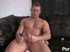 Wanking off my oiled-up cock