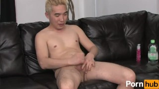 Blonde asian tugs at his cock Ass fuck