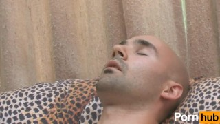 Solo bald guy masturbates on couch porno
