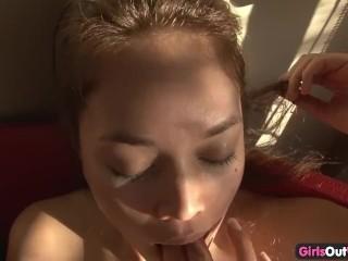 Delightful amateur lesbians masturbating together