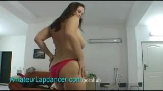 Busty BBW lapdances on big cock