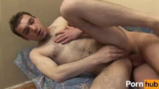Hairy dude getting a good dose of cum