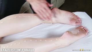 Gorgeous redhead Melody Jordan gets a sensual rub down