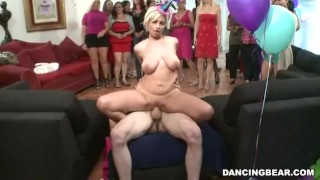 Busty Chick Rides Hard On A Birthday Cock
