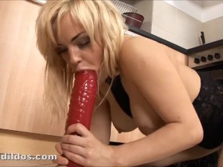 Jodi West Mom Xxx Busty babe fucking a big red dildo and squirting on the kitchen floor in hd