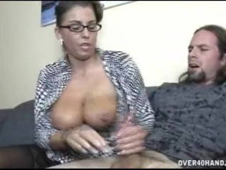 Mom surprises son with hand job
