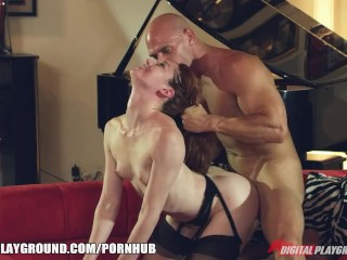 Lingerie clad Stoya loves to have her hair pulled during doggy