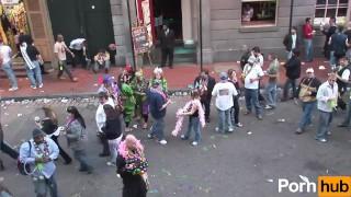 Coeds  scene mardi gras public mask