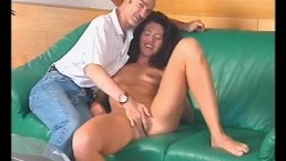 Lucky old man shares oral sex with a sexy brunette
