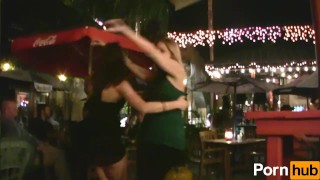 Wild girls scene party  flashing tease