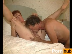 Old and ugly redhead gets two dicks to herself