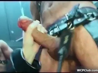 Dirty whore gets masturbated and ass fucked hard in a fetish group sex