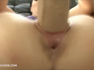 Brunette fucking both her holes extremely deep with two brutal dildos in hd