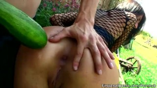 Teen girl wants cucumber and cock in her ass.