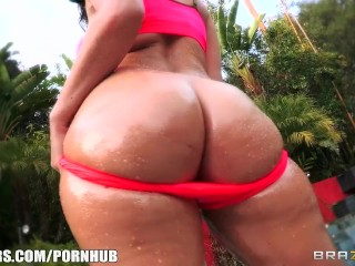 Sophie Dee has her ass oiled up and then gets double teamed