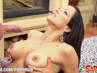 Busty girls in mini stacy silvers stunning boobs on saboom, saboom interactiveporn blowjob brunette