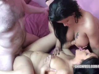 Latina sluts Angel and Val take turns getting fucked