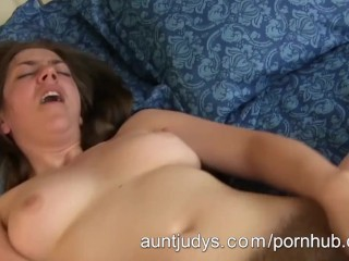 Milf Silva Storey fucks her hairy pussy with a rubber penis