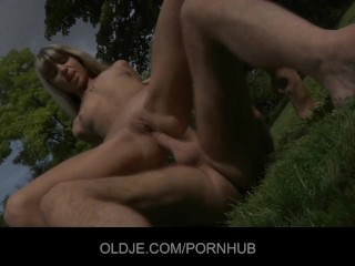 Sweet blonde gets an anal injection from an Oldje