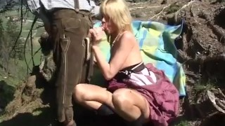 Mountain fuck fest blonde gets hard cock outdoor sex