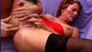Horny  scene sweet and stockings tits
