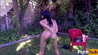 Big Tit Brunette Tease And Strips In Her Backyard