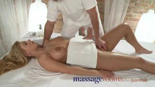 Massage Rooms Tanned shaved busty young blonde intense orgasm Girl shaved