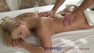 Massage Rooms Busty girl is sensually oiled and penetrated deep for orgasm Boobs eating