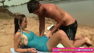 Teenage pussy nailed on the beach