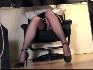 Dark knight ingrid secretary fingering at the office in thigh high stockings and heels, nylons secre