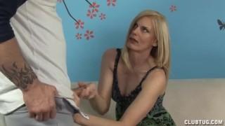 Horny Milf Jerks Off Her Step Son