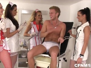 Four young CFNM doctors undressing a patient and doing testicle exam
