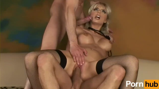 Blonde Babe Takes Two Cocks