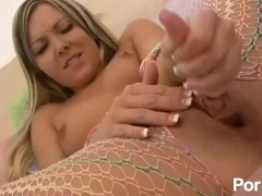 Aaliyah Love  masturbates in crotchless fishnet body stocking