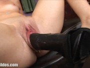 Brunette demolished by a brutal dildo on a high speed fucking machine in HD