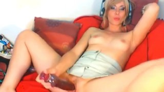 Cute Blonde Babe Massive Dildo Penetration HD
